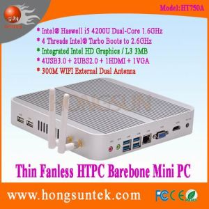 Ht750A Barebone Mini PC Intel Haswell I5-4200u 1.60GHz Dual Core with 4 Threads Intel Turbo Boots to 2.6GHz Aluminum Fanless