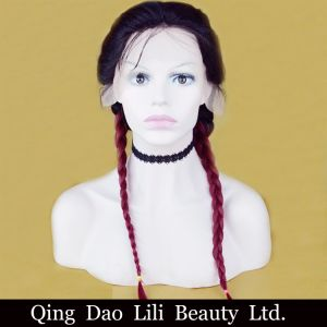 Lili Beauty Straight Lace Front Wig Peruvian Remy Hair 1b T 99j Ombre Color Free Part Human Hair Wig with Baby Hair and Hairline pictures & photos