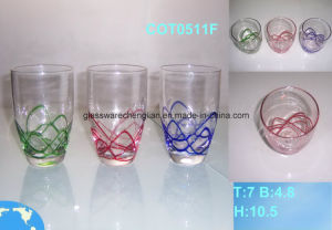 Hand Made Glass Cup with Solid Glass Swirls (COT0511F) pictures & photos