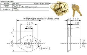 Rhombus Drawer Lock, Golden Drawer Lock Al-106g pictures & photos