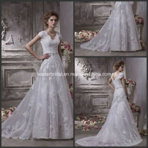 Short Sleeves Bridal Wedding Dress Luxury Lace Wedding Gown H132402 pictures & photos
