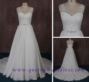 New V-Neck Chiffon Wedding Dress with Exquisite Crystal Waist