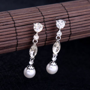 New Cheap Elegant Simple Super Flash Crystal Studded Women′s Earrings Pearl Pendant Jewelry pictures & photos