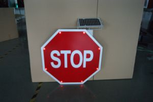 Solar Powered Stop Road Sign / Reflective LED Traffic Sign pictures & photos