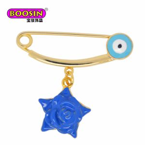 Best Selling Gold Enamel Star Evil Eyes Pink Rose Pin Brooch Safety Pin pictures & photos