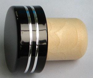 Aluminium Cap Synthetic Cork Wine Bottle Stopper (TBEH19-BLACK)