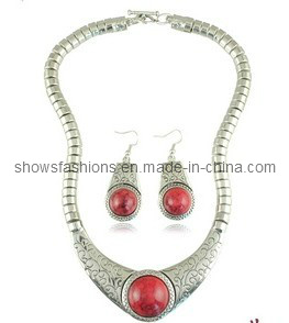 Big Stone and Snake Chain Necklace & Earrings Sets/ Fashion Stone Jewelry/ Stone Jewelry (XJW12263) pictures & photos