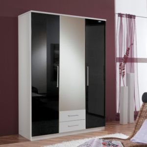 Wooden High Gloss 3 Door Mirrored Combi Wardrobe pictures & photos