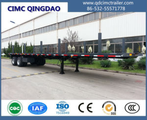 Cimc 50t Flatbed Truck Trailer with Single Point Boggie Suspension Truck Chassis pictures & photos