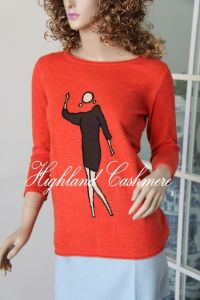 Ladies′ Crew Neck Pullover with Intarsia CIP1104L pictures & photos