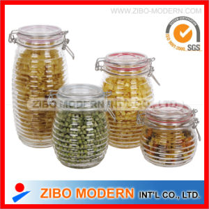Glass Food Jar Sealed Canister with Glass Lid pictures & photos