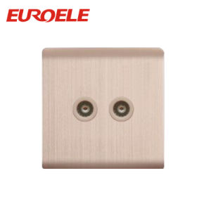 Double Hole Aluminum Plate Gold Color TV /Satellite Socket pictures & photos