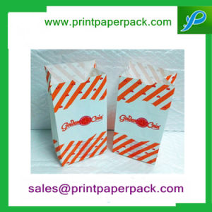 Color Printed Kraft Flat Block Bottom Paper Bag Party Lunch Gift Bags pictures & photos