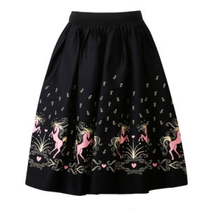 Horses Printed Free Size A Line Elastic Waist Black Skirts pictures & photos
