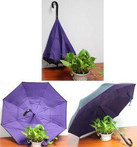 C Shape Handle Manual Reverse Straight Cars Umbrella (WP-RSCU001) pictures & photos