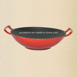 Enamel Cast Iron Chinese Wok Inner Black Outer Red pictures & photos