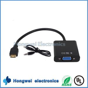 High-Definition 2.0HDMI to VGA Adapter Cable with Male 3.5mm Audio Cable pictures & photos