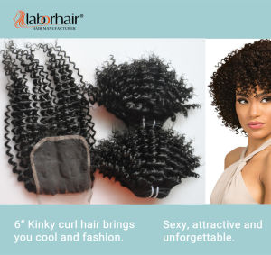10A Kinky Curly Human Hair Extension Natural Brazilian Remy Virgin Hair Lbh 005 pictures & photos