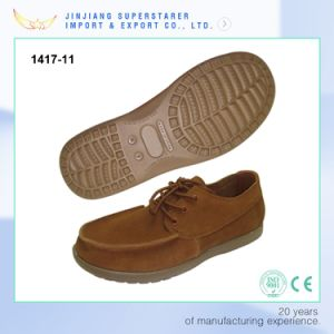 Brown Casual Men Slip on Shoes with Genuine Leather Upper pictures & photos