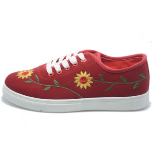 New Design Casual Sunflower Classical Student Women Men Rubber Shoes pictures & photos