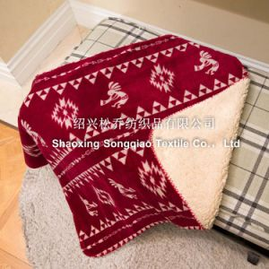 100% Polyester Printed Sherpa Fleece Throw - Southwest Petroglyph pictures & photos