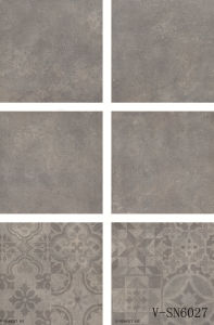 Interior Flooring Matte Non-Slip Different Faces Cement Porcelain Grey Floor Tile (600X600mm)