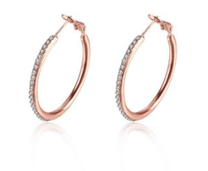 Fashion Gem Diamond Stainless Steel Hoop Earring pictures & photos