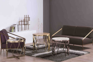 High Quality Marble Coffee Table with Stainless Steel Frame Base pictures & photos
