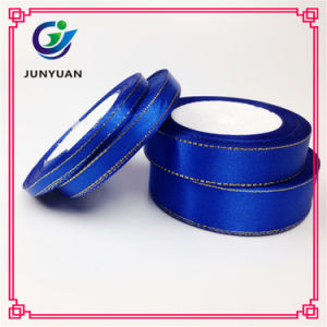 Good Quality Personalised Double Side Blue Satin Ribbon for Bows pictures & photos