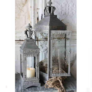 Crown Top Lace Retro Vintage Gray Metal Glass Set Two Candle Holder pictures & photos