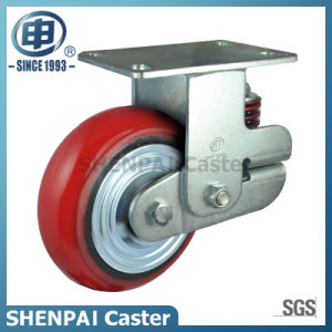 """8""""Iron Core PU Single Springs Fixed Shockproof Caster Wheel pictures & photos"""