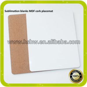 China Top Quality 32X23cm Square Sublimation Wooden Cork Placemat pictures & photos