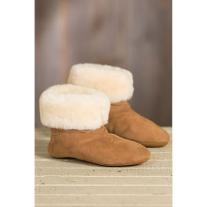Women′s High-Top Soft Leather Sole Sheepskin Slippers pictures & photos
