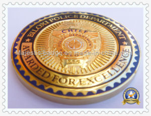Police Coin Brass Die Struck Gold Plated Hard Enamel pictures & photos