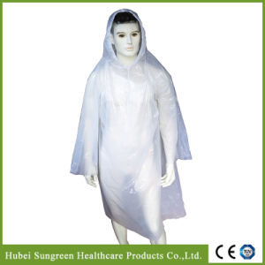 Disposable PE Raincoat with Hood pictures & photos