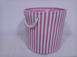 Canvas Round Laundry Hamper with 2 Rope Handles and EVA Inside