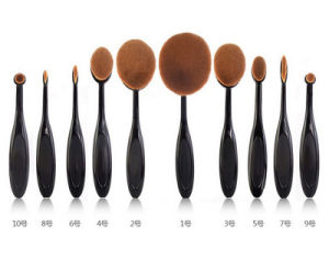 New Fashion 10PCS Toothbrush Type Cosmetic Tool Oval Makeup Brush pictures & photos