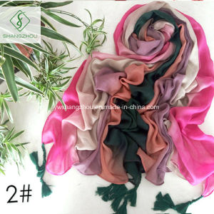 Colors Gradually Changed Hand Painted Shawl with Fringed Fashion Scarf pictures & photos