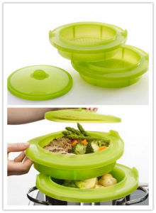 Double-Layer Food Grade Plastic Platinum Silicone Food Steaming Basket pictures & photos