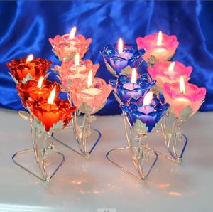 3 Branch Rose Crystal Candle Holder for Wedding pictures & photos