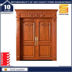 Exterior Security Solid Teak Wood Double Panel Wooden Door Design pictures & photos