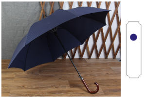 Wood Bending Hook Super Long Handle Automatic Umbrella Business Men′s Straight Bar Anti Riot Umbrella pictures & photos
