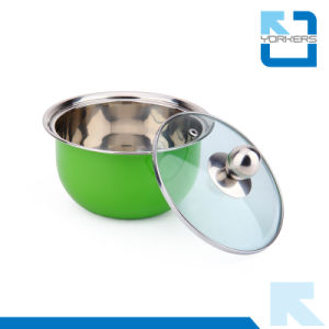 SGS Certificate 3 Pieces Colorful Stainless Steel Soup Tureen Soup Pot Set pictures & photos