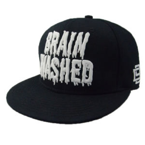 Black Flat Brim Cotton Custom Snapback Cap pictures & photos