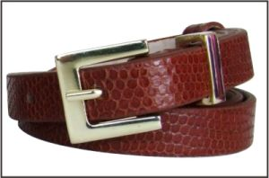 Textured Slender Genuine Leather Belt pictures & photos