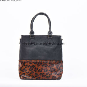 Elegant PU Tote Bag Women Shoulder Bag with Leopard Print on Front pictures & photos