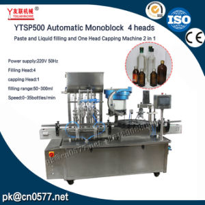 Ytsp500 Automatic Monoblock 4 Heads Paste and Liquid Filling and One Head Capping Machine 2 in 1 pictures & photos