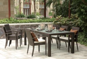 Outdoor Wicker Patio Furniture Auckland Dining Set Rattan Chairs Table (J6266) pictures & photos