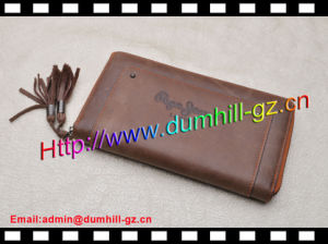 Brown Leather Purse with Zipper pictures & photos