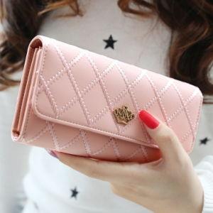 Korean Female Buckle Lingge Love Crown Wallet Note Clip Female Wallet pictures & photos